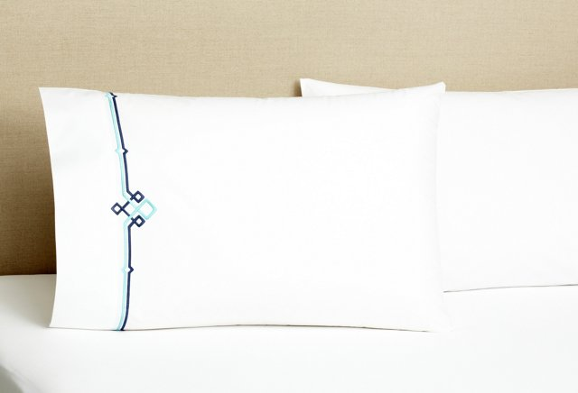 S/2 Square Knot Pillowcases, Navy/Turq