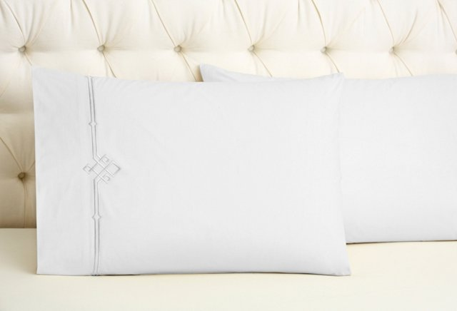 S/2 Square Knot Pillowcases, Gray