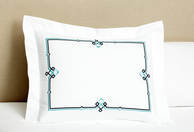 Square Knot Sham, Navy/Turquoise
