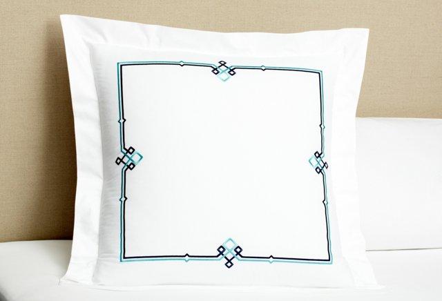 Square Knot Euro Sham, Navy/Turquoise