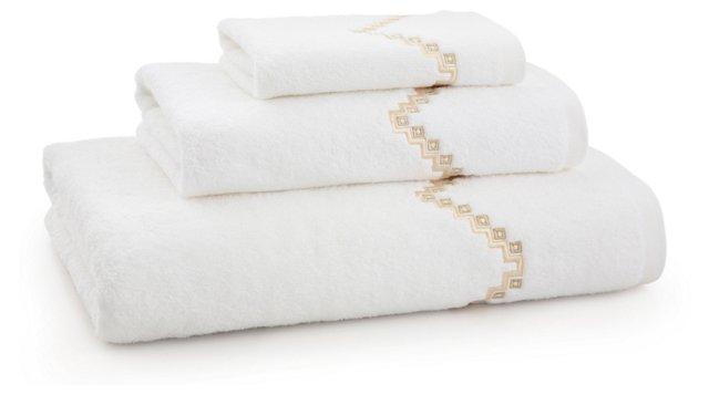 3-Pc Rick Rack Towel Set, Ivory/Seashell