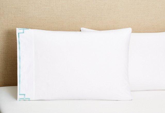 S/2 Fretwork Pillowcases, Light Blue