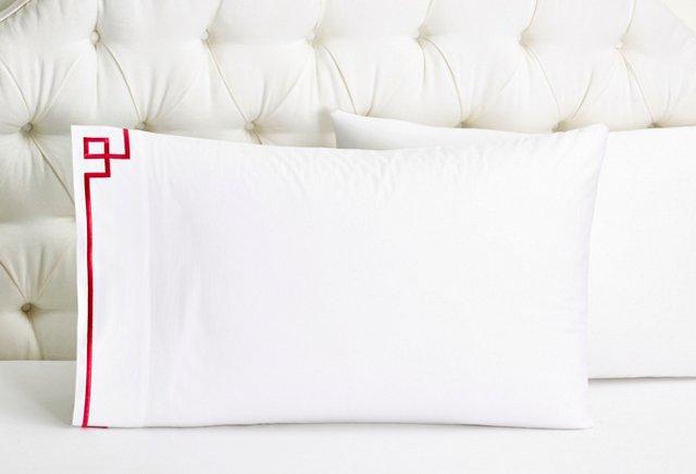 Set of 2 Fretwork Pillowcases, Raspberry