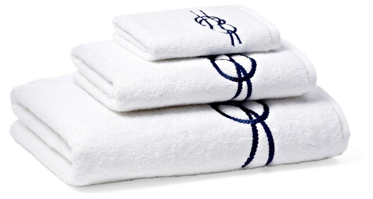 3-Pc Nautical Knot Towel Set, Navy