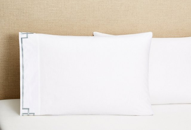 Standard  Fretwork S/2 Pillowcases, Gray