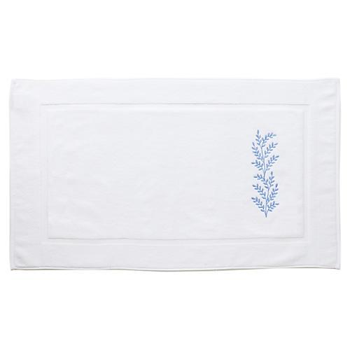 Willow Bath Mat, White/Blue