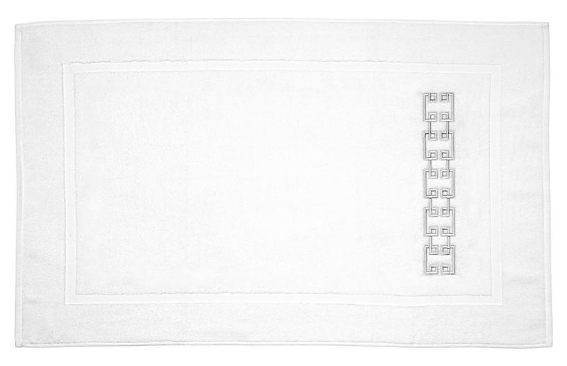 Fretwork Bath Mat, White/Gray