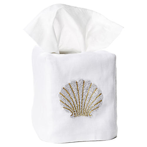 Scallop Shell Linen Tissue Box Cover