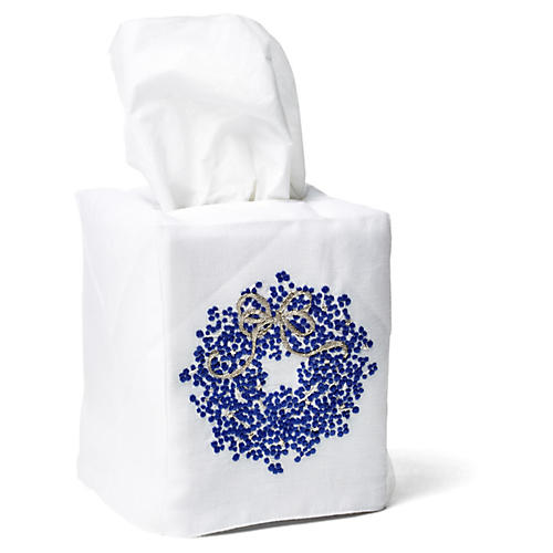 Berry Wreath Linen Tissue Box