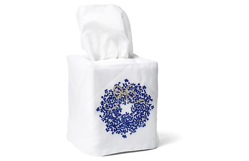 Berry Wreath Linen Tissue Box