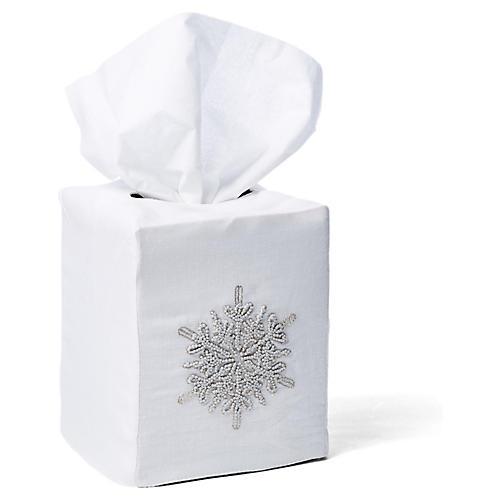 Snowflake Linen Tissue Box Cover, White