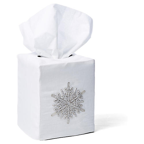 Snowflake Linen Tissue Box Cover, White