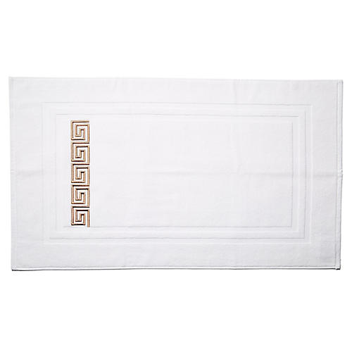 Greek Key Bath Mat, Tan