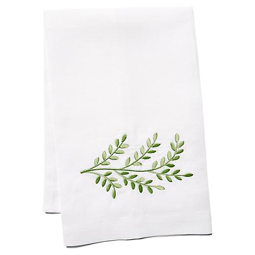 Willow Linen Guest Towel, Green