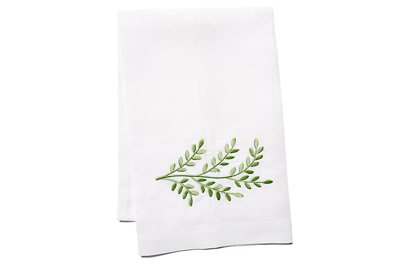 Willow Linen Guest Towel, Green