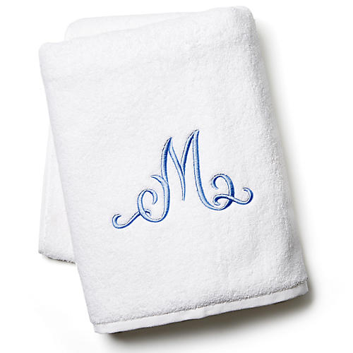 Script Monogram Bath Sheet, White/Blue