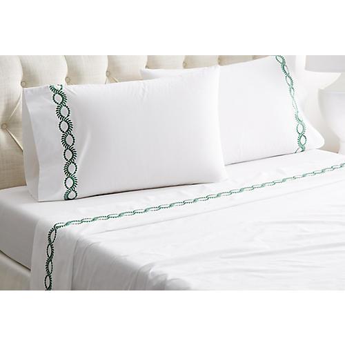 Wheat Sheet Set, White/Green