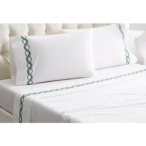 Wheat Sheet Set, White/Green