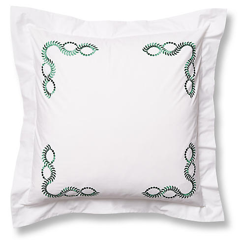 Wheat Euro Sham, White/Green