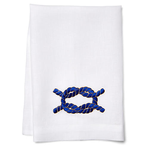 Knot Guest Towel, Navy/White