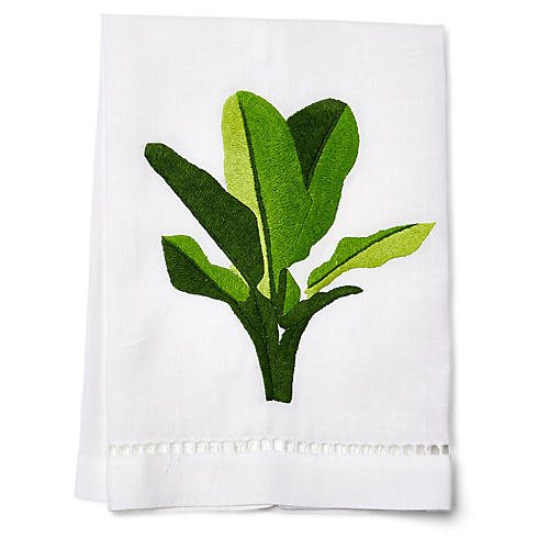 Palm Guest Towel, Green/White