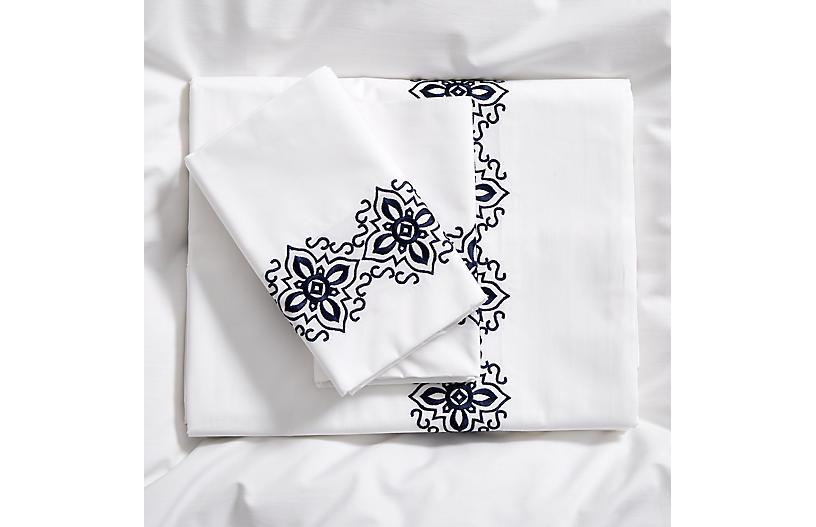 Santa Fe Sheet Set, Navy/White
