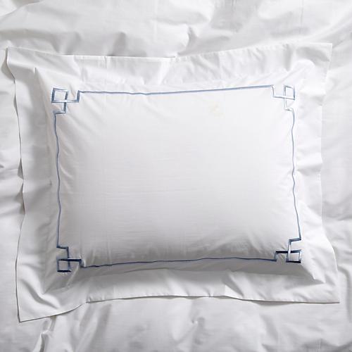 Fretwork Sham, Light Blue/White