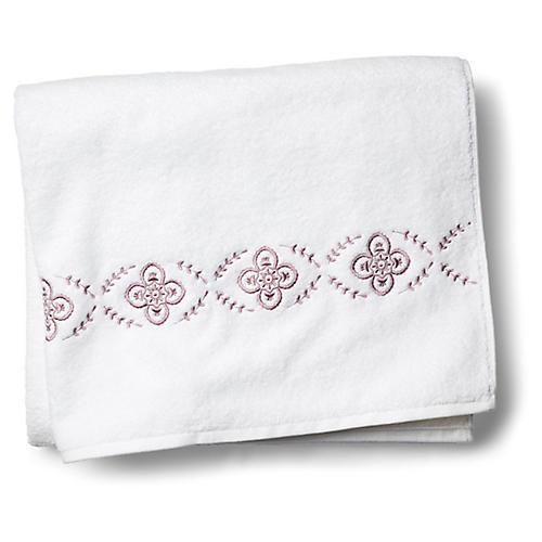 Floral Bath Sheet, Satin Wine