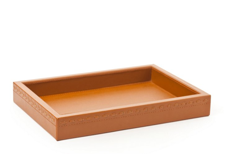 Leather Clifford Tray, Tobacco