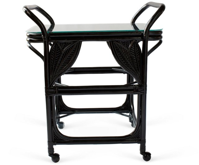 Black Banana-Leaf Bar Cart