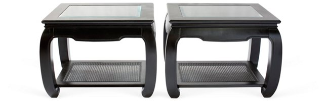 Black Asian-Style End Tables, Pair