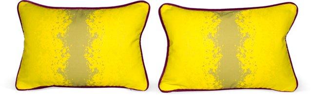 Lemon Flutters Pillows, Pair