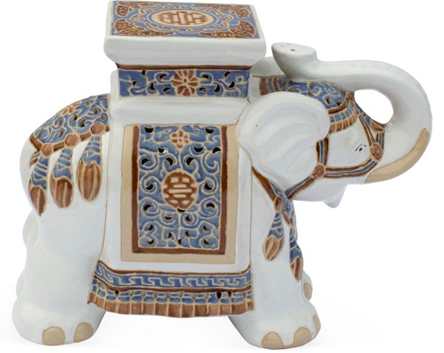Large Ceramic Elephant Stool