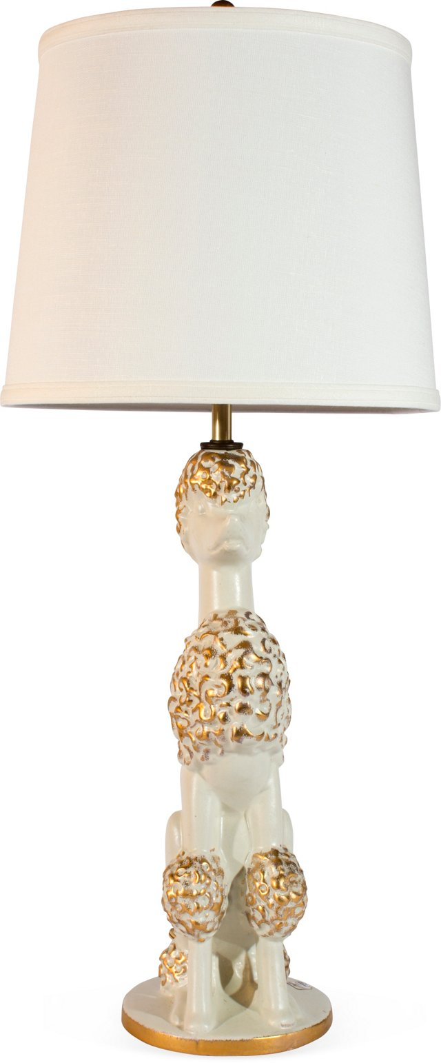 White Poodle Lamp