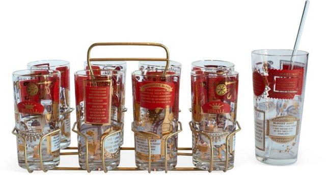 Red & Gold Drink Recipe Barware, 10 Pcs.