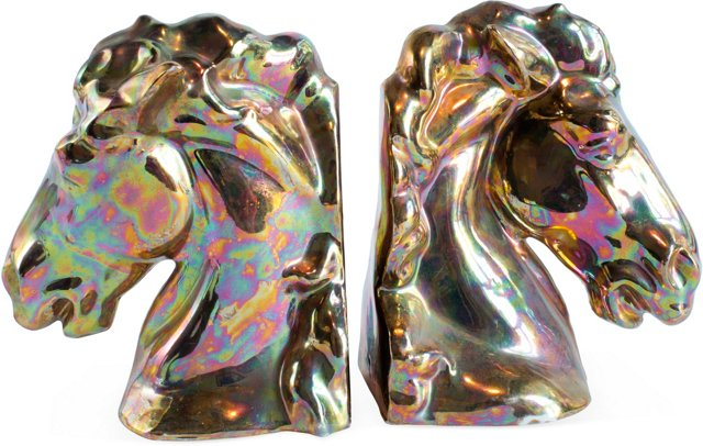 Bronze Glazed Horse-Head Bookends