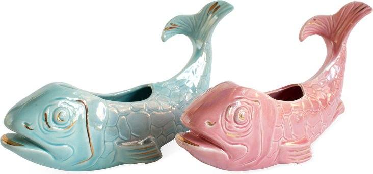 Retro Fish Cachepots, Set of 2