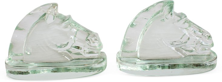 Glass Horse-Head Bookends