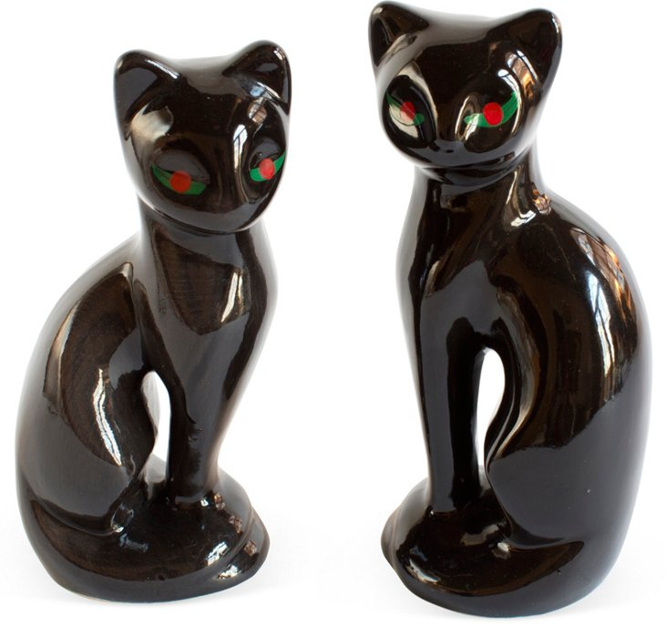 Black '60s Cats, Set of 2