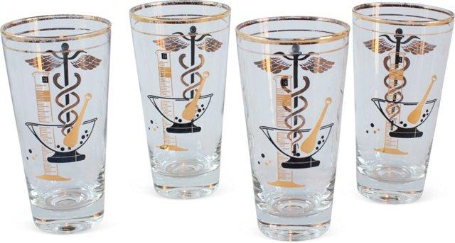 Caduceus Drinking Glasses, Set of 4