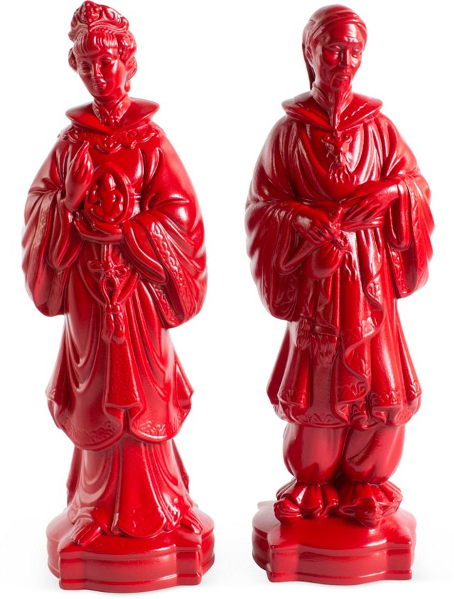 Red Asian Statues, Pair