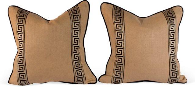 Black & Tan Greek Key Pillows, Pair