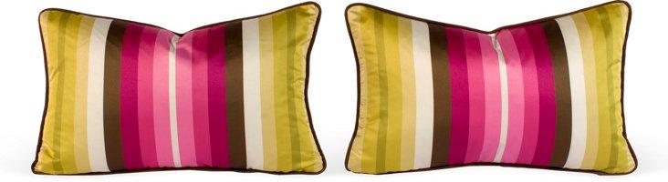 Striped Silk Pillows, Pair I