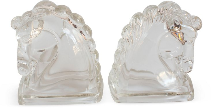 Glass Regency Horse-Head Bookends