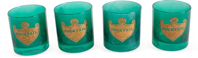 Green Cocktail Glasses, Set of 4
