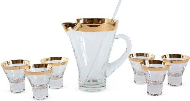 Gold-Rimmed Martini Set, Set of 7