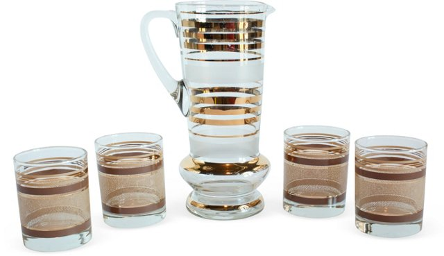 Gold Herringbone Barware Set, 5 Pcs.