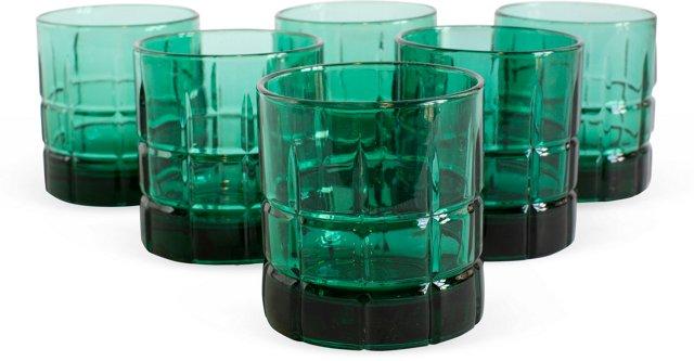 Green Glass Rocks Glasses, Set of 6