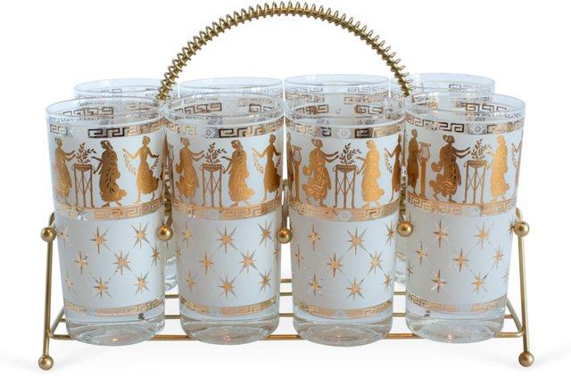Grecian Scene Glasses & Caddy, 9 Pcs.