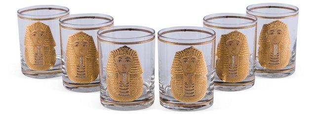 Gold King Tut Glasses, Set of 6